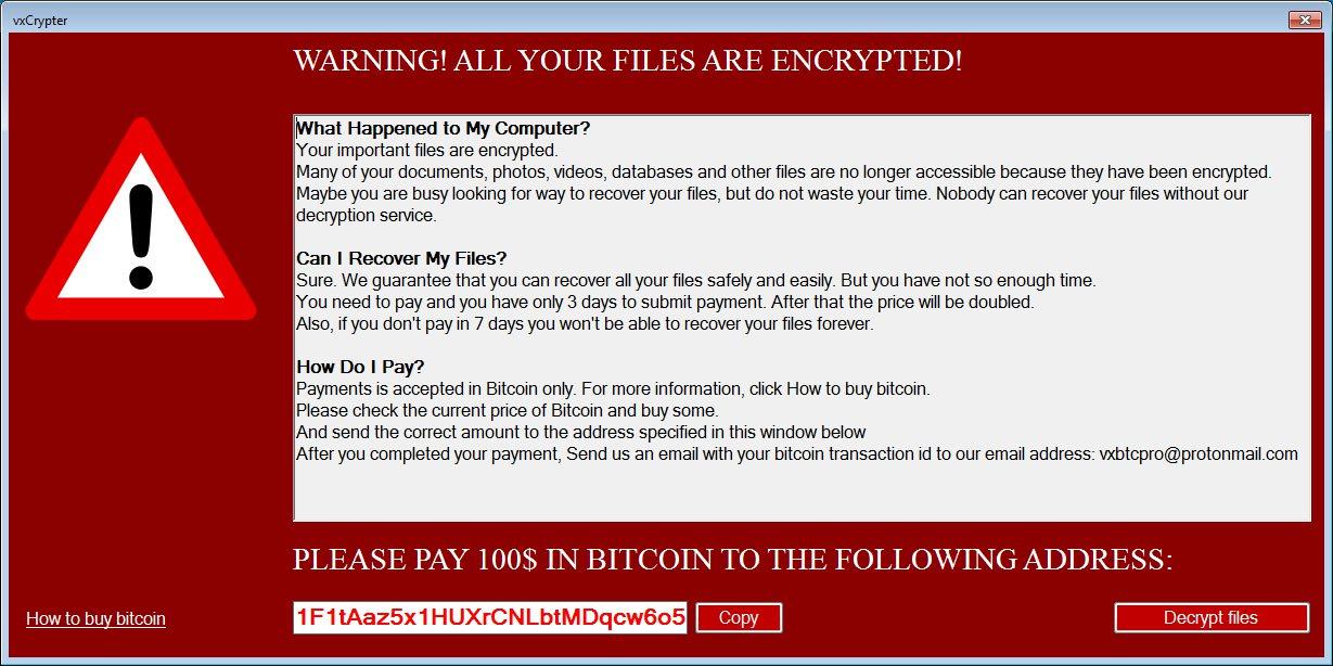 Newly discovered ransomware 'vxCrypter' deletes duplicate